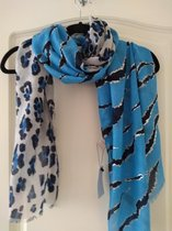 Sjaal Mila panterprint blauw