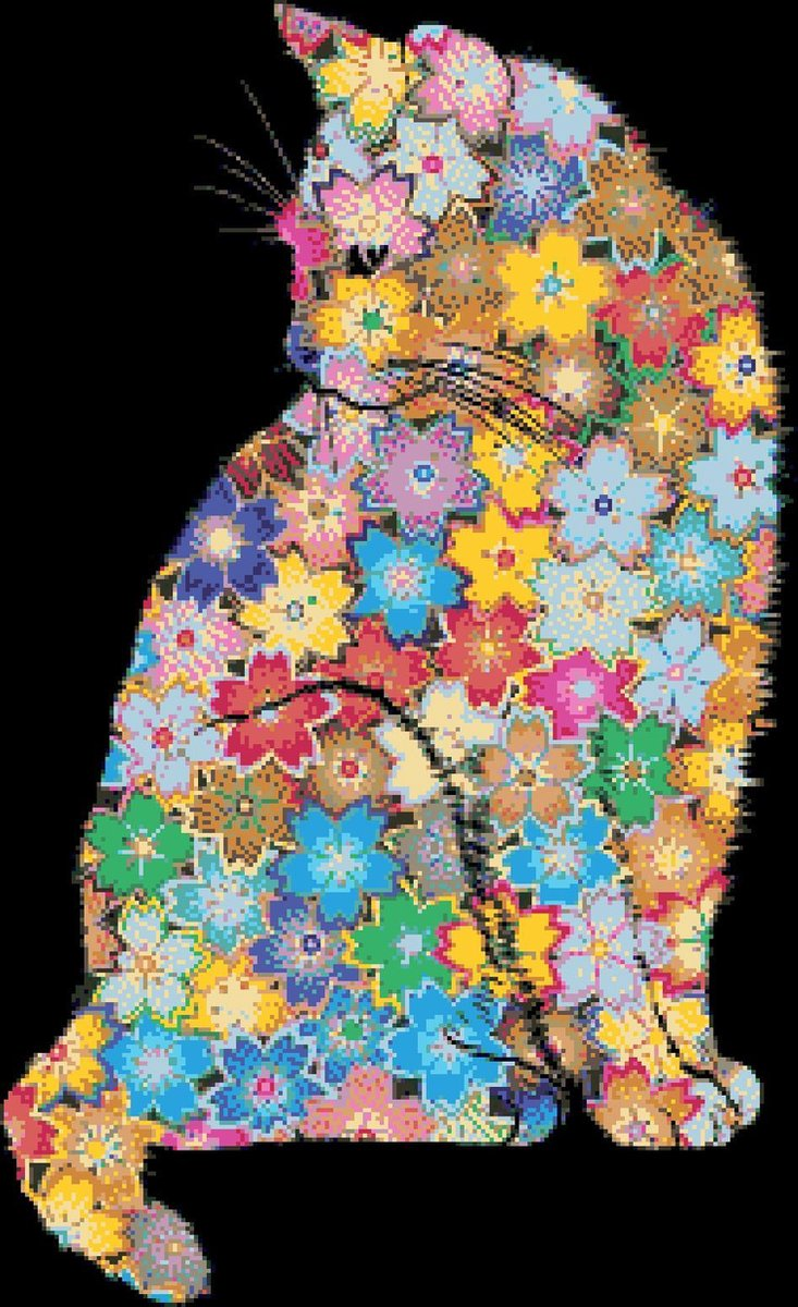 MyHobby Borduurpakket – Bloemenpoes 40×60 cm - Aida stof 5,5 kruisjes/cm (14 count)