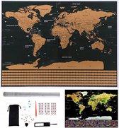 Luxe Kras Wereldkaart Met Acccessoires - Inclusief Stickers &  World Scratchmap & Poster - Deluxe Kraskaart Wereld - Vlaggen - Wereldbol Poster / Kaart / Wereldmap / World map / Wereld Kaart - Goud/Zwart