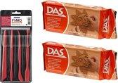 Terra boetseerklei van DAS 2 x 1 kilo inclusief boetseer gereedschap setje - Hobby boetseer klei met gereedschap