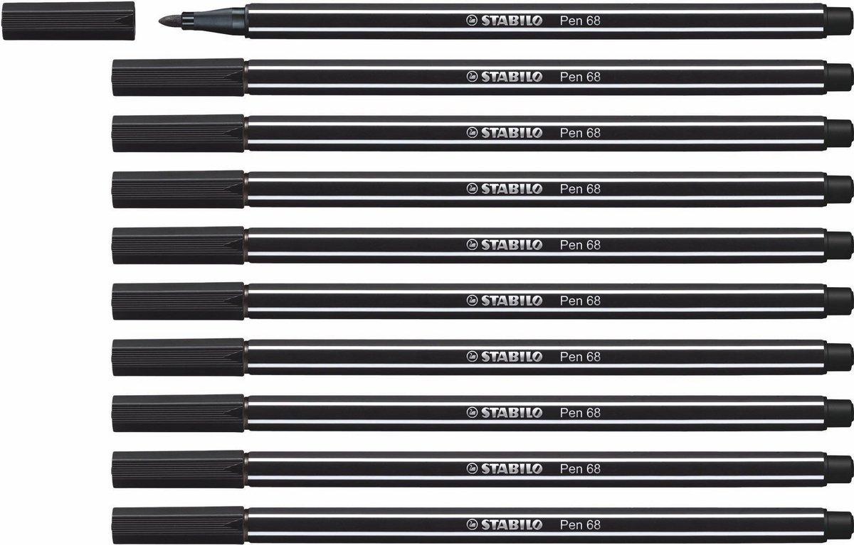 STABILO Pen 68 - Premium Viltstift - Zwart - Doos 10 stuks