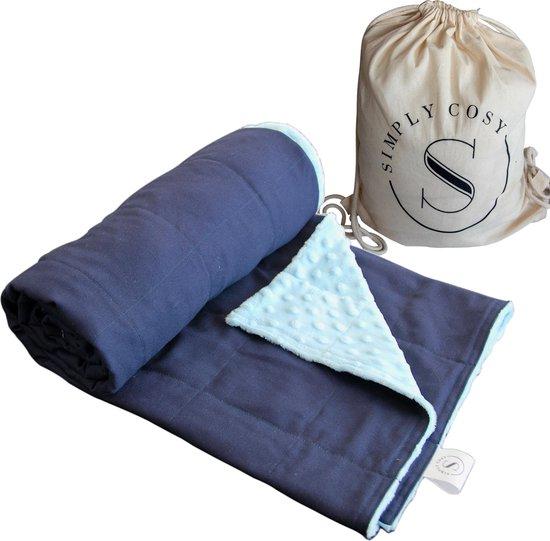 Verzwaringsdeken Kind Weighted Blanket Kinderen – Beter slapen- Oeko Tex Keurmerk – Handgemaakt -100x135 – 3,5KG – Donkerblauw