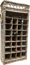 Rotan wijnrek voor 28 (wijn)flessen