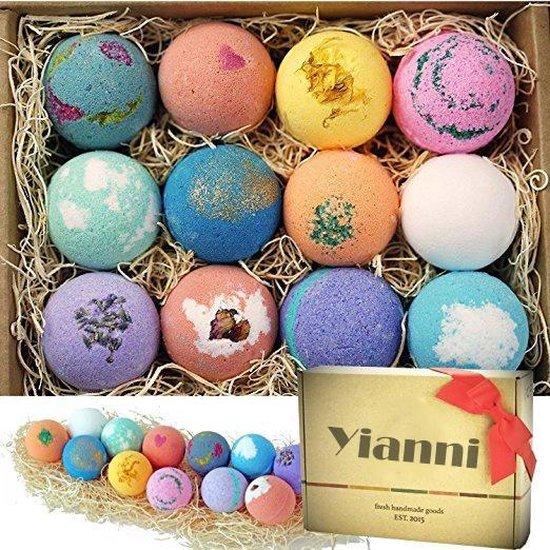 100% Natuurlijke Bruisballen voor in Bad - 12 Etherische Aroma Badbommen - Handmade Bath Bombs - Giftset