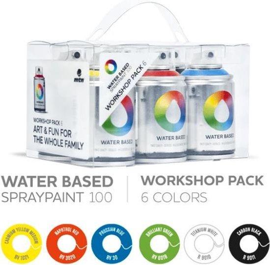 MTN spuitbus pakket op waterbasis - 6 kleuren 100ml lage druk en matte afwerking spuitverf - Geurloze en kindvriendelijke spuitverf voor binnen en buiten gebruik voor vele doeleinden, zoals kinderfeestjes, workshops, graffiti, hobby en kunst