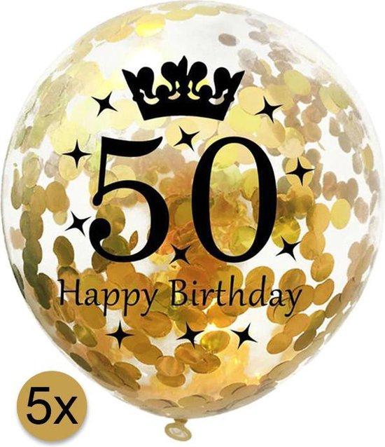 5 stuks confetti ballonnen | 50 jaar | Happy Birthday | Gouden Confetti | Verjaardag | Versiering