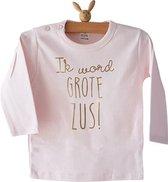 Shirt Ik word grote zus   lange mouw   roze met goud  