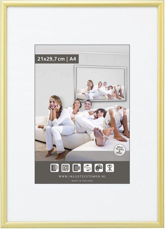 Halfronde Aluminuim Wissellijst - Fotolijst - 40x60 cm - Helder Glas - Mat Goud - 10 mm