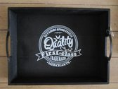 Zwart houten dienblad met witte tekst 7 x 30 x 40 cm