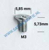 M3 Zilver schroeven plat, zakje van 10 stuks