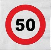 48x 50 jaar leeftijd themafeest servetten verkeersbord 33 x 33 cm - 50e verjaardag papieren wegwerp tafeldecoraties