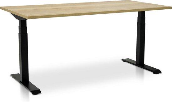 Zit-sta bureau elektrisch | 160 x 80 cm | frame zwart - blad robuust eiken | Met memory bediening | 120KG draagkracht!