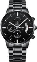 NIBOSI Horloges voor mannen - Horloge mannen - Luxe Zwart Design - Heren horloge - Ø 42 mm - Zwart Edelstaal - Roestvrij Staal - Waterdicht tot 3 bar - Chronograaf - Geschenkset met verstelbare pin