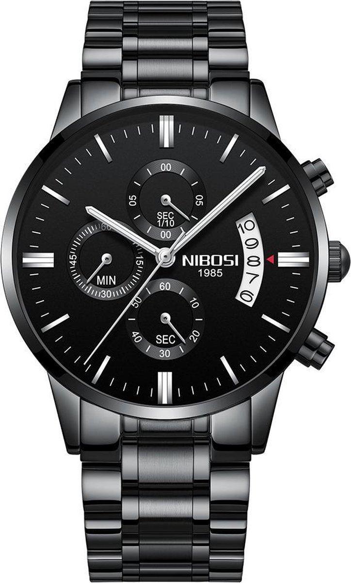 NIBOSI Horloges voor mannen - Horloge mannen - Luxe Zwart Design - Heren horloge - Ø 42 mm - Zwart Edelstaal - Roestvrij Staa...