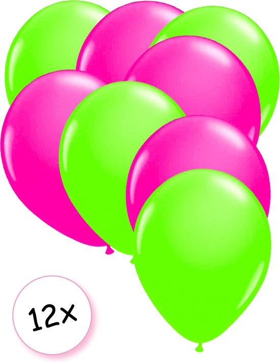 Ballonnen Neon Groen & Neon Roze 12 stuks 25 cm