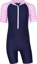 JUJA - UV Zwempak voor baby's - lange mouwen - Stripy - Donkerblauw - maat 74-80cm