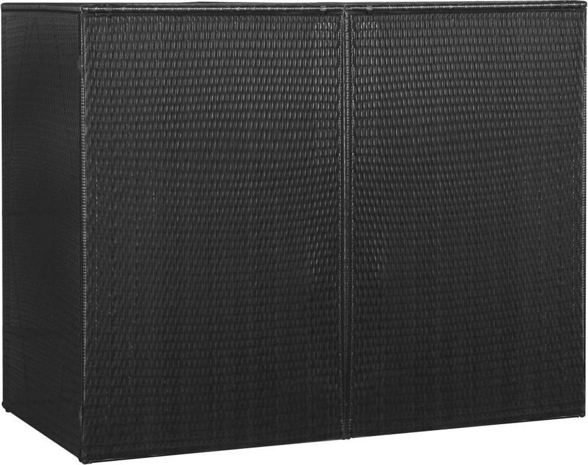 VidaXL Containerberging dubbel 153x78x120 cm poly rattan zwart online kopen