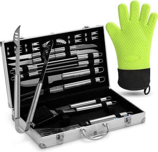 Saveur Royal® Barbecue Gereedschap Set in Roestvrij Staal - 25-delig - met Silicone BBQ Handschoen