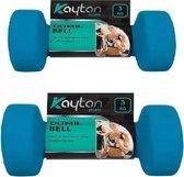 Dumbbell Set 6 kg – Gewichten – Halter Set – 2 x 3 kg – Fitness – Krachttraining - Blauw