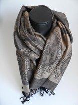 Mooie hippe sjaal figuren lengte 180 cm breedte 70 cm kleuren bruin zwart franjes.