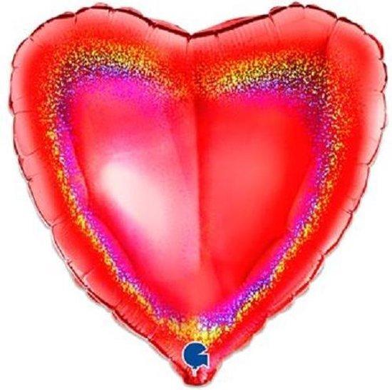 Folieballon hart glitter rood (46cm)