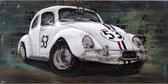 Schilderij Metaal 3D Car Herby auto