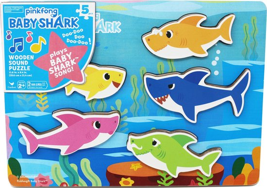 Spin Master: Pinkfong Baby Shark - Wooden Sound Puzzle (6054918)