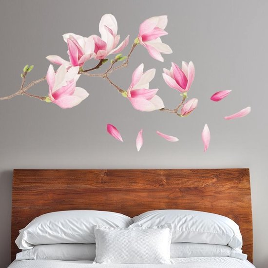 Bol Com Muursticker Magnoliamuursticker Magnolia Boom Wanddecoratie Bloemen Slaapkamer