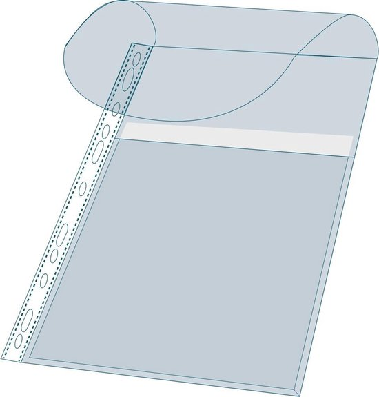 5x Pak van 10 geperforeerde showtassen met balg - opening aan bovenzijde - gladde PP 20/100ste - A4, Transparant