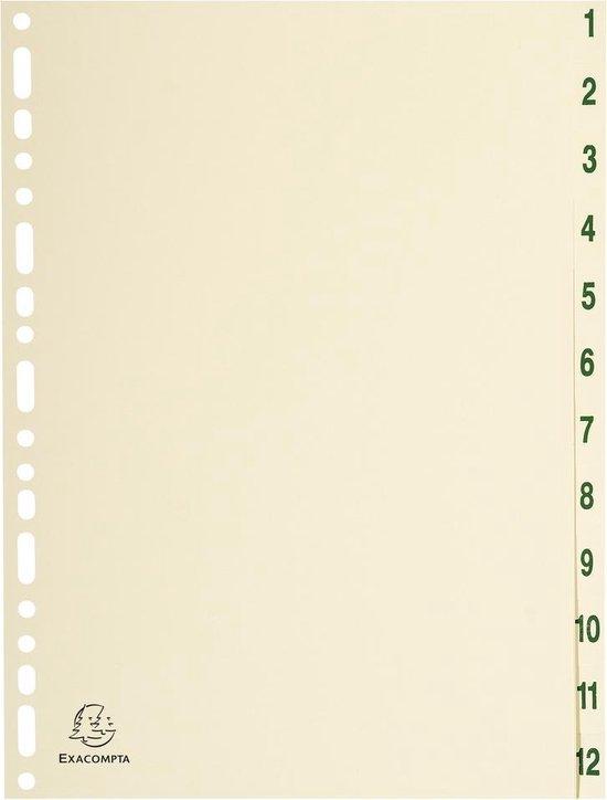 10x Tabbladen karton 155g - 12 tabs -1 tot 12 - A4, Ivoor