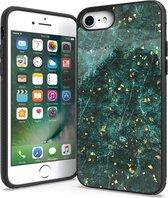 iPhone 7 / 8 / SE 2020 Hoesje Groen x Goud Marmer Marmerprint