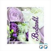 20 Bedankt kaartjes - met paarse bloemen - 7 x 7 cm