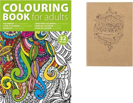 Afbeelding van 2 Kleurboeken Formaat A4 en A5, met 12 potloden Kleuren voor Volwassenen