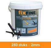 Tegel Levelling Systeem - Nivelleersysteem - Starter Set - 250 stuks – 2mm