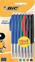 Balpen Bic M10 - 14 stuks - 4 kleuren