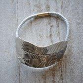 Haarelastiek   Ø4 cm   Zilverkleurig   Kunststof   Rond   Blad   Melady   MLHCD0030