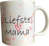 Moederdag geschenk   moederdag cadeautje set   Liefste mama theemok   Met sticker en vlaggenprikkers