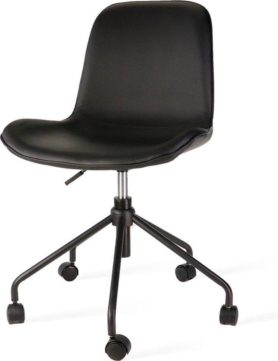 Nolon Nout bureaustoel zwart - Zwarte leren zitting