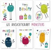 wenskaarten - kaartenset - ansichtkaarten - Verjaardag - monsters - 6 stuks