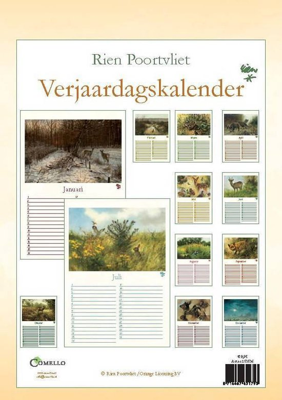 Rien Poortvliet Verjaardagskalender - Natuur - formaat A4