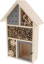 Houten insectenhotel XL rood - 26 x 10 x 37 cm - insectenhuis - natuur - bijenhotel - vlinderhuis - insecten - egel - tuindecoratie