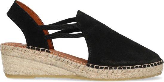 Manfield - Dames - Zwarte suède sandalen met sleehak - Maat 38