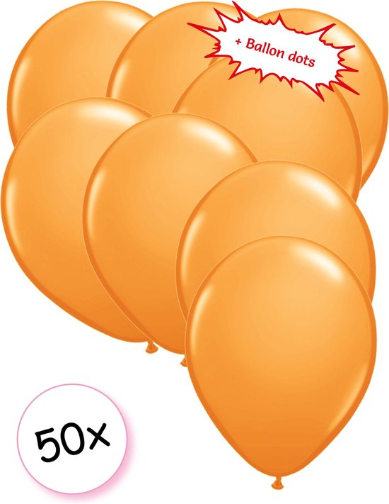 Ballonnen Oranje 50 stuks 27 cm + Ballon Lijm Plakkers - Plafond Stickers