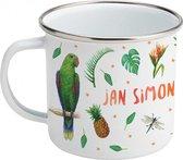 Emaille mok met naam - Aapje papegaai - Gepersonaliseerde drinkbeker - kraamcadeau - Dieren in aquarel - Geschilderd door Mies