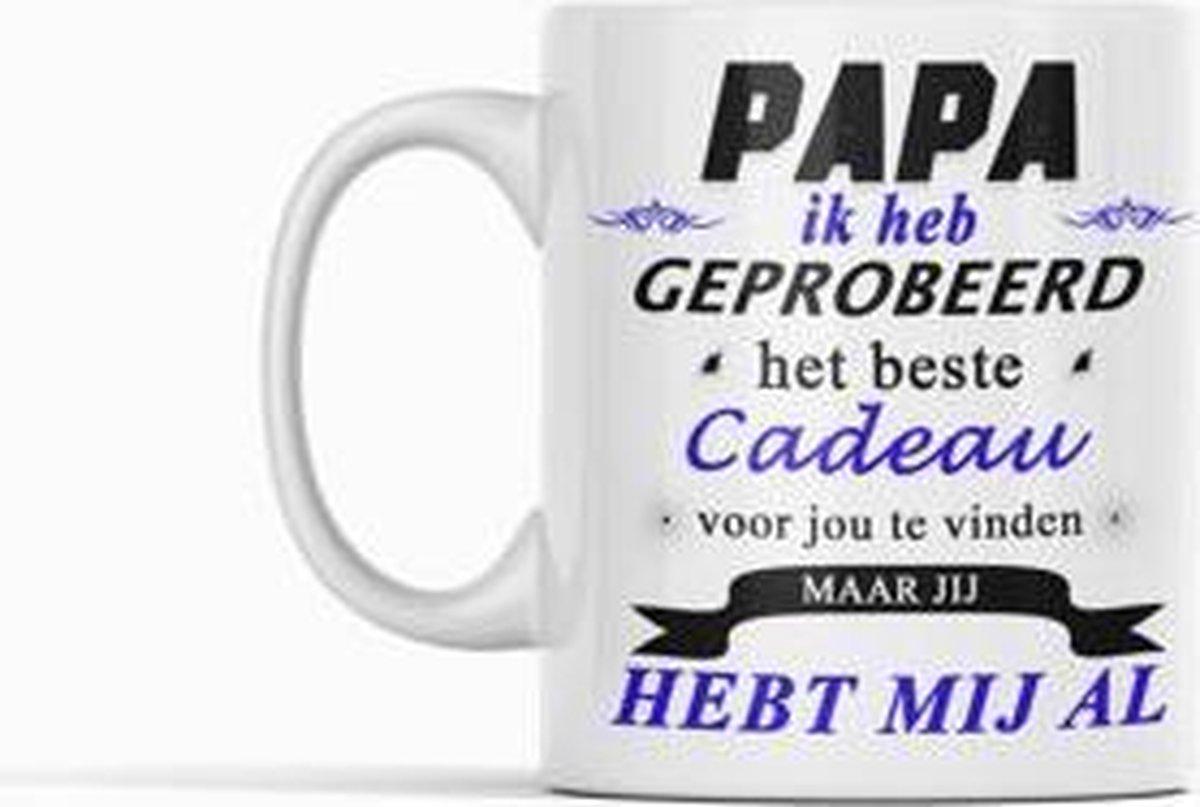 Witte koffie mok / beker met tekst: Papa ik heb geprobeerd het beste cadeau|papa|opa|Cadeau|vaderdag