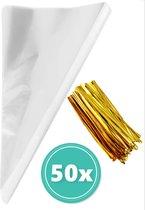 Glim - Traktatie zakjes - Puntzakjes transparant - Puntzak doorzichtig - Snoepzakjes - 50 puntzakken - 25*13 cm -
