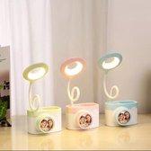 Cadeautip Tafel Lamp Kinderen - Camera Style  LED Lamp - USB-aansluiting - 2 Lichtstanden-Flexibele arm-Roze