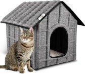 Rexa® kattenhuis voor buiten   Opvouwbaar huisdierenhuis met uitneembare matras   Kattenmand Zacht en warm voor hondenkat hondenkonijn   Kattenbed   Poes poezen mand   Katten bed met wasbaar kussen   stof dierenmand