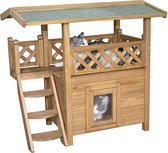 Rexa® Kattenhuis voor buiten | 77 x 50 x 73 cm | Opvouwbaar huisdierenhuis | Dierenhuis warm voor hond kat en konijn | Kattenbed | Poes poezen mand | Katten bed