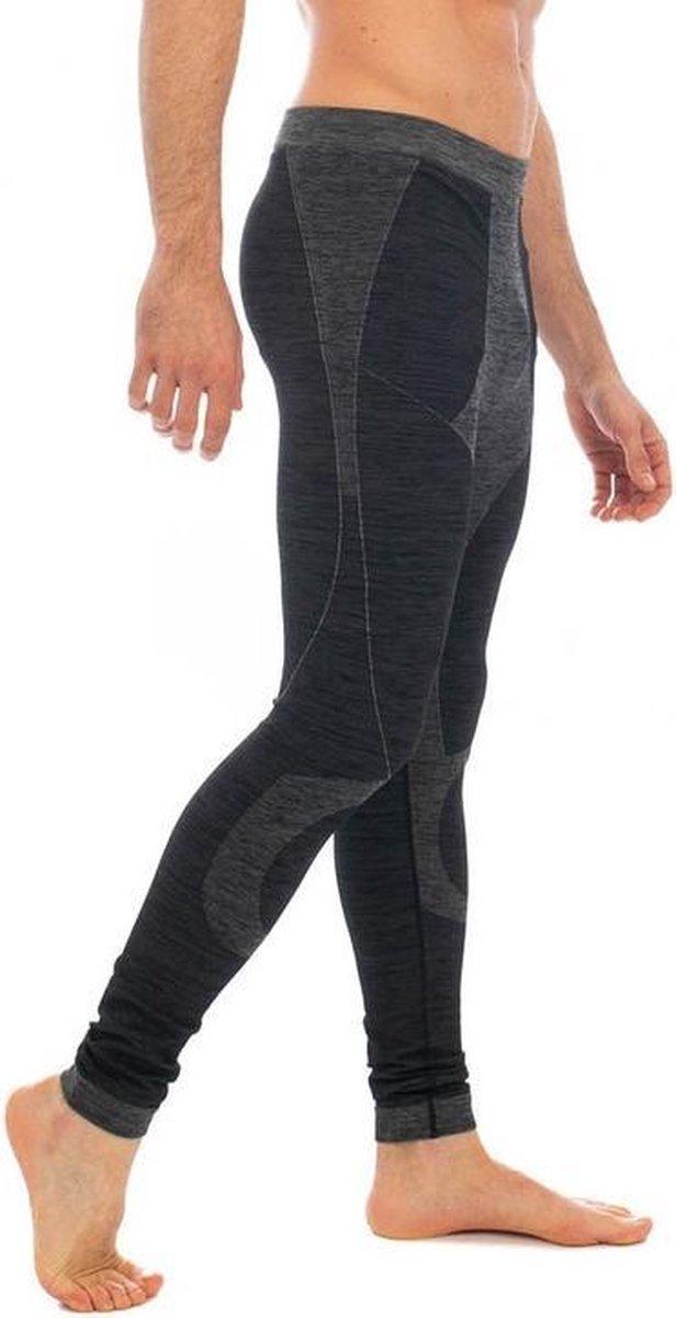 Thermo broek ondergoed lang voor heren zwart melange - Wintersport kleding - Thermokleding - Lange thermo broek M (50)